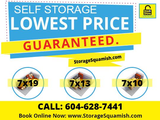 lowest price, storage, squamish